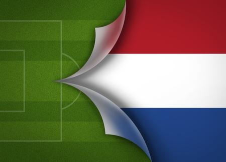 soccer field on netherlands flag