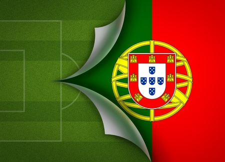 soccer field on portugal flag