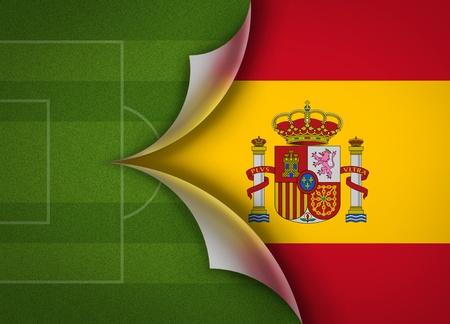 soccer field on spain flag Stock Photo