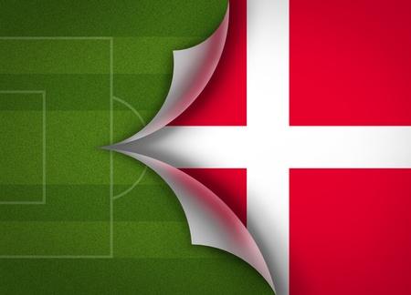 soccer field on Denmark flag Stock Photo