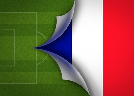 soccer field on France flag photo