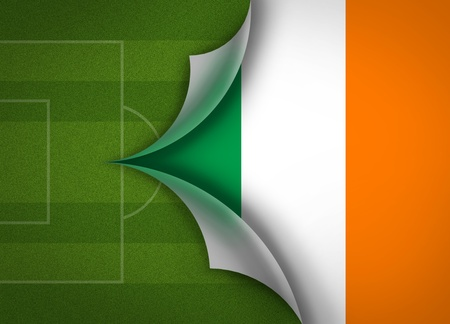 soccer field on Ireland flag photo