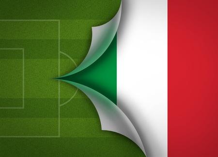 soccer field on Italy flag Stock Photo