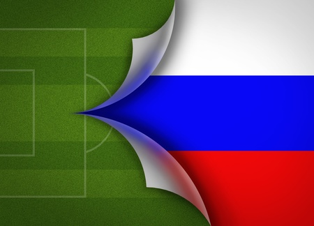 soccer field on Russia flag