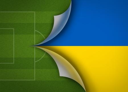 soccer field on Ukraine flag