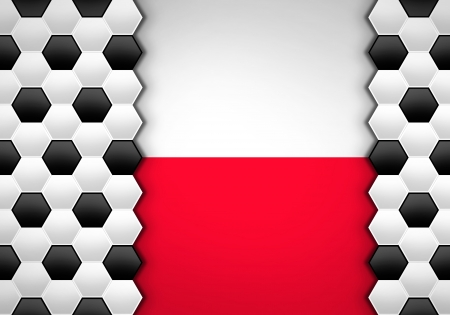 soccer ball pattern on Poland flag Stock Photo