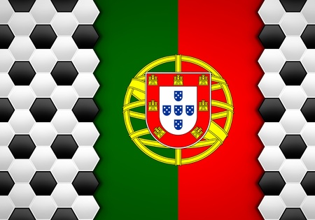 soccer ball pattern on portugal flag photo