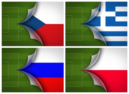 soccer field on flag of Group A UEFA Euro football Cup 2012 photo