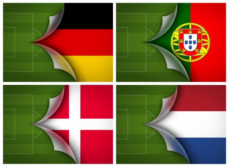 soccer field on flag of Group B UEFA Euro football Cup 2012 Stock Photo
