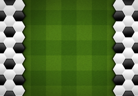 soccer ball pattern on green pattern photo