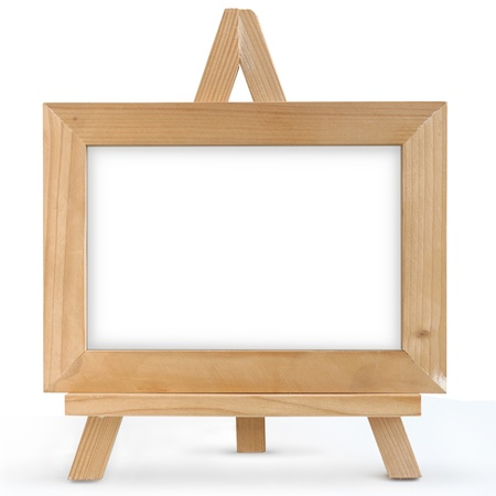 wooden picture frame isolated on white  photo