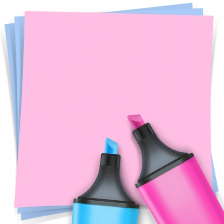 highlighter pen with note paper Stock Photo - 15648382