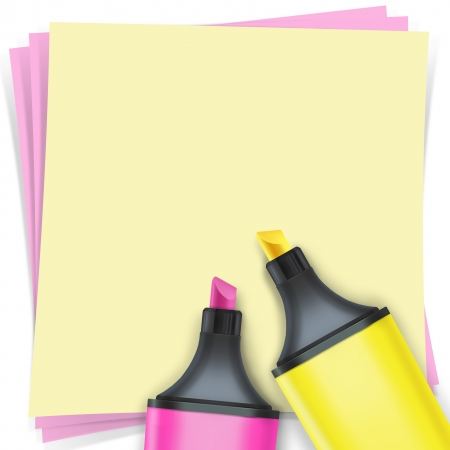 highlighter pen with note paper Stock Photo - 15648378