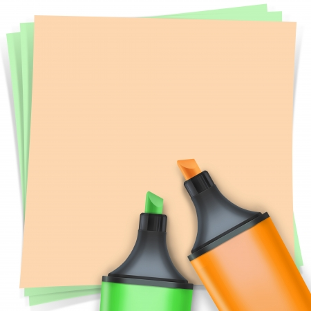 highlighter pen with note paper Stock Photo