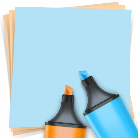 highlighter pen with note paper Stock Photo - 15648379