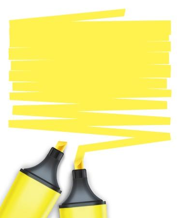highlights: highlighter pen con la caja de texto Foto de archivo