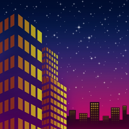 night cityscape with starlight on the colorful sky  photo
