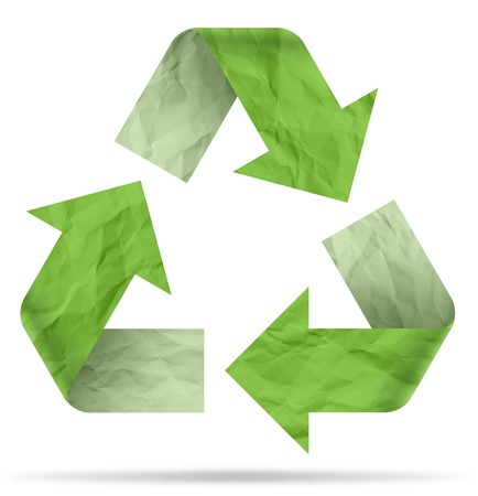 recycle symbol from crumpled paper Stock Photo - 17894545