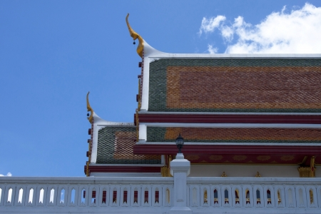 Roof of temple on blue sky in Thailand