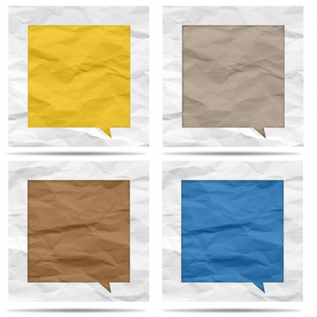 Crumpled paper bubble for speech Stock Photo - 19927830