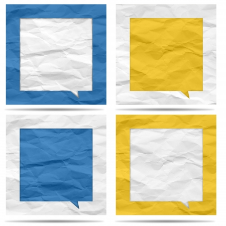Crumpled paper bubble for speech Stock Photo - 19927837
