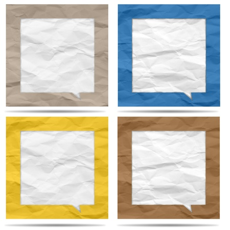 Crumpled paper bubble for speech Stock Photo - 19927846