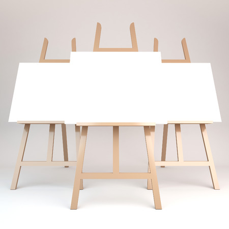 easel: 3d rendering of a wooden easel