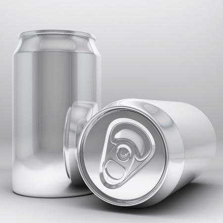 aluminium: 3d rendering aluminium cans on white background Stock Photo