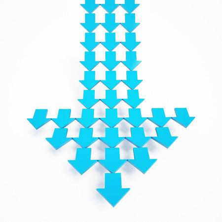 blue arrow: 3d rendering blue arrow on white background