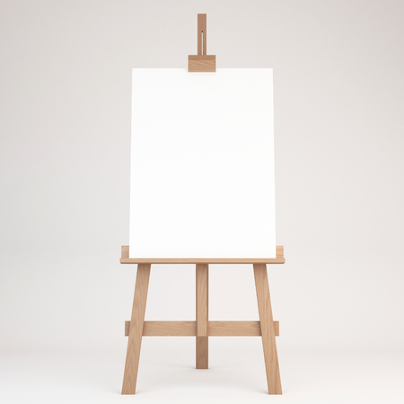 artist's canvas: 3d rendering of a wooden easel
