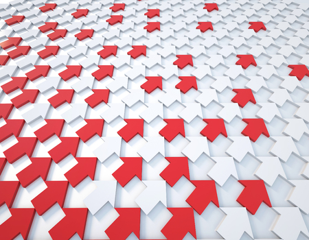 3d rendering red and white arrow background Stock Photo