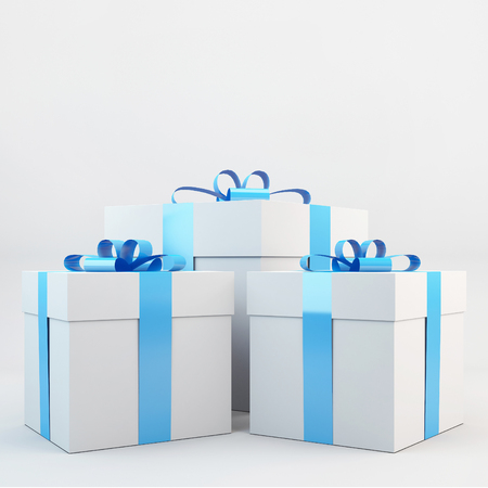 Gift box with blue ribbon bow on white background Stock Photo