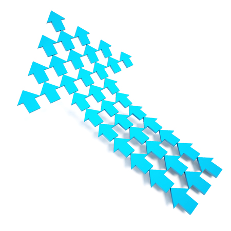 3d rendering blue arrow on white background