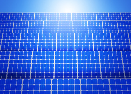 Solar panels on blue sky Stock Photo