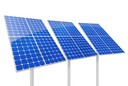 Solar panels on white background