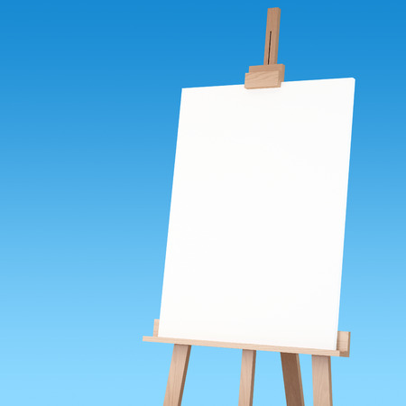 3d rendering of a wooden easel with blue bacground