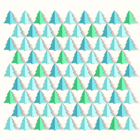 Christmas tree card background , paper cut style Stock Photo