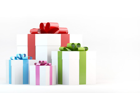 Gift box with ribbon bow on white background Stock Photo