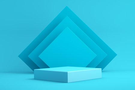 3d background for mock up podium for product presentation, blue background, 3d rendering