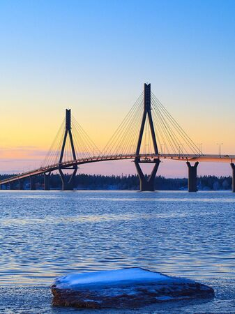 Cable-stayed tuftform bridge to the Raippaluoto Island in Mustasaari near Vaasa, Finland.