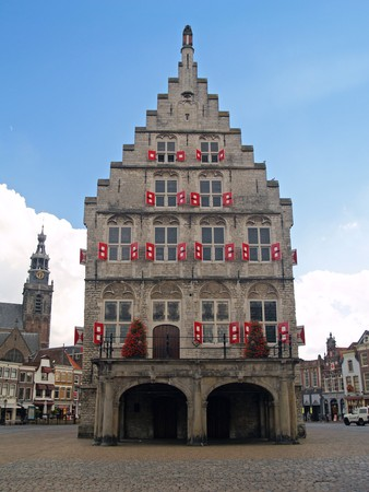 15th century: Gouda 15th century city town hall in summer time.