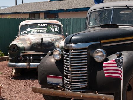 Old cars in the famous route 66 road in USA Stock Photo - 8041846