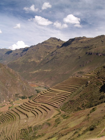 terracing: Pisac, Peruvian Terraced Landscape in the Sacred Valley