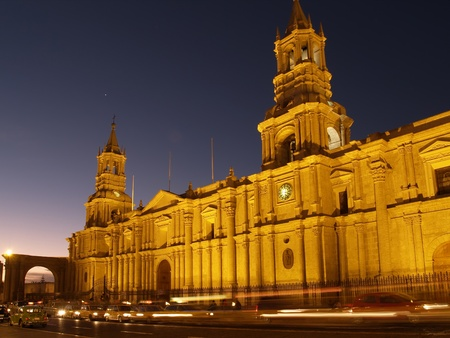 plaza: Nocturnal Plaza De Armas and Cathedral � Arequipa, Peru