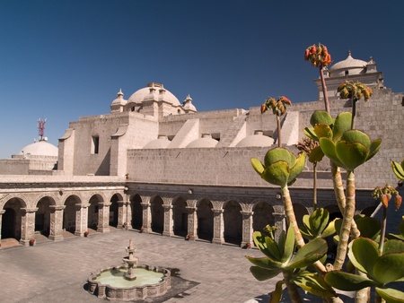 peru architecture: Courtyard of the Church of the company of Jesus at Arequipa, Peru