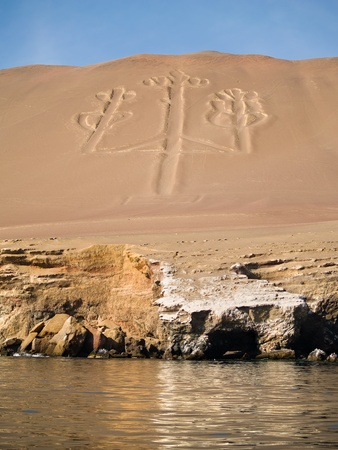 sea line: Ancient Candelabrum figure in Paracas national park Stock Photo