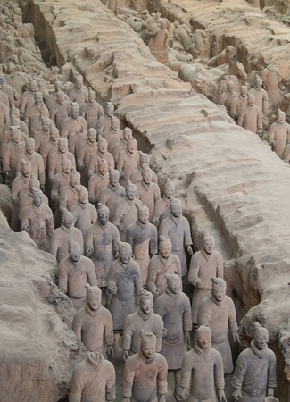 terracotta: terra-cotta warriors in Xian, China Editorial
