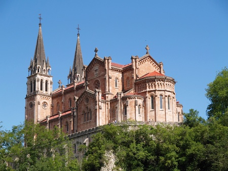 covadonga: Basilica de Covadonga in Asturias, Spain Stock Photo