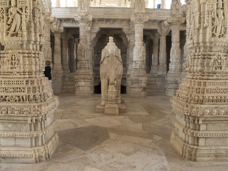 jainism: Jain Temple in Ranakpur,India Stock Photo