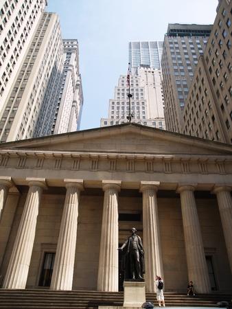 federal hall: George Washington taking the inaugural oath, Federal Hall Wall Street, financial district, New York City
